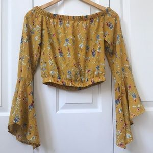 Yellow Floral Long Sleeve Crop Top